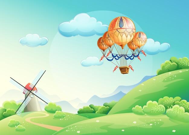 Ilustración de campos de verano con un globo en el cielo.