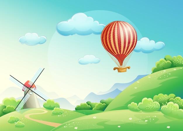 Ilustración de campos de verano con un molino y un globo en el cielo