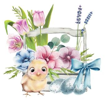 Ilustración de canasta de pascua con pollo y flores