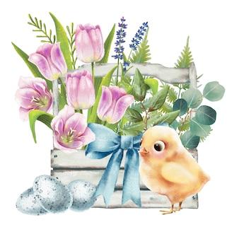 Ilustración de canasta de pascua con pollo y tulipanes