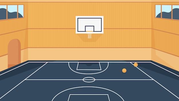 Ilustración de la cancha de baloncesto.
