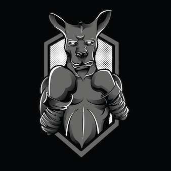 Ilustración de canguro caza blanco y negro