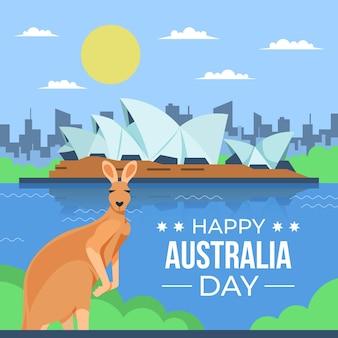 Ilustración de canguro de día de australia de diseño plano