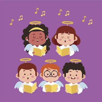 Ilustración de canto de coro de niños
