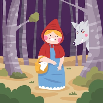 Ilustración de caperucita roja de dibujos animados
