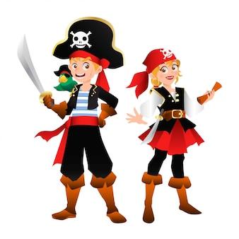 Ilustración de capitán pirata