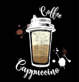Ilustración de cappuccino en estilo de tiza