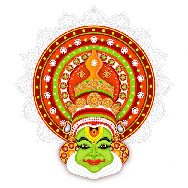 Ilustración de la cara de bailarina kathakali sobre fondo de patrón de mandala.