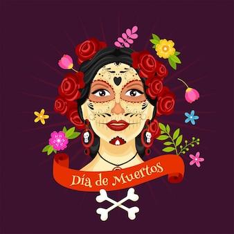 Ilustración de la cara catrina decorada con flores y huesos cruzados en tays morados para la celebración del día de muertos