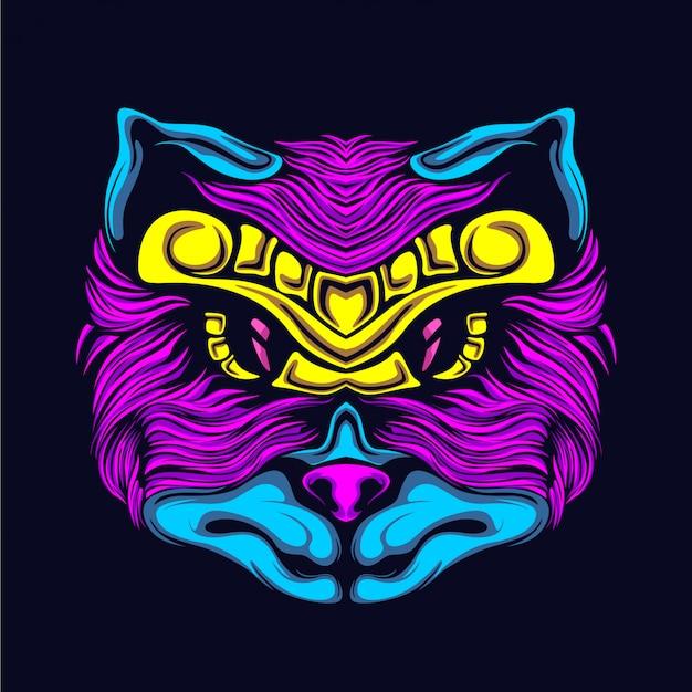 Ilustración de cara de gato resplandor