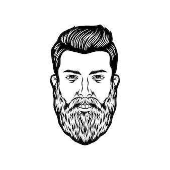 Ilustración de la cara del hombre barbudo