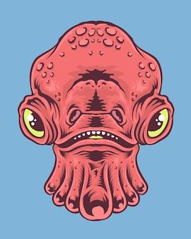Ilustración de cara de monstruo de calamar