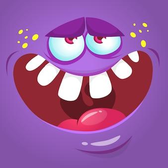 Ilustración de cara de monstruo divertido de dibujos animados