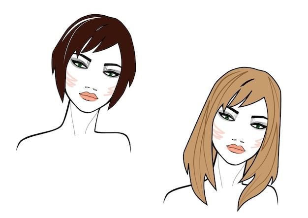 Ilustración de la cara de las mujeres de pelo corto y estilo largo sobre fondo blanco coloreado