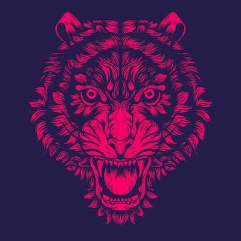 Ilustración de cara de tigre para tatuaje