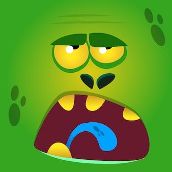 Ilustración de cara de zombi divertido de dibujos animados