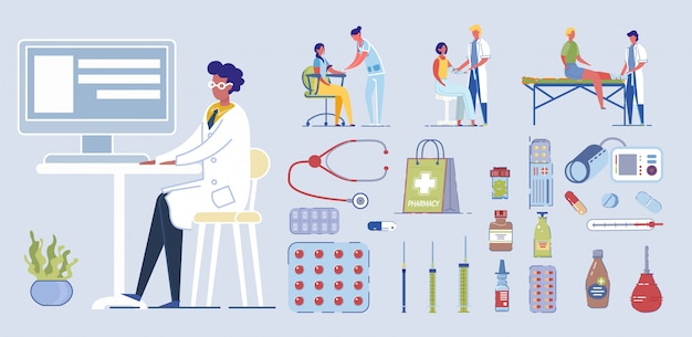 Ilustración de carácter médico. doctor vendaje pierna y mano lesionadas. primeros auxilios en el hospital. la enfermera toma una muestra de sangre con una jeringa. equipo médico, estetoscopio, termómetro, píldora, tableta