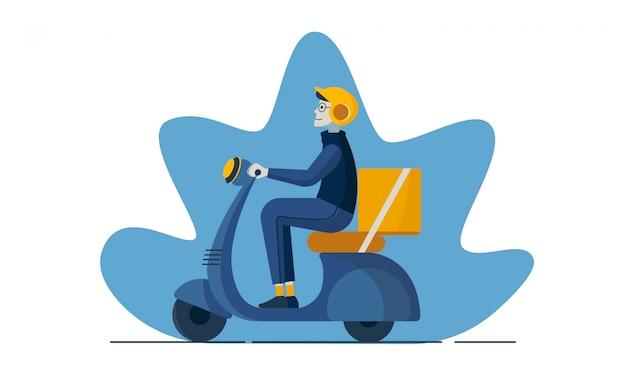 Ilustración de caracteres del servicio de entrega