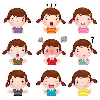 Ilustración de caras de niña linda que muestran diferentes emociones