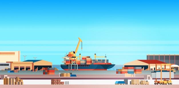 Ilustración de carga de puerto marítimo industrial con contenedor logístico para buque de carga de importación y exportación