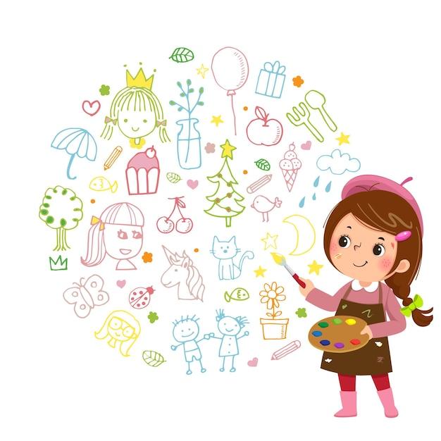 Ilustración caricatura de artista de niña pintando con pinturas de color y pincel sobre fondo blanco.