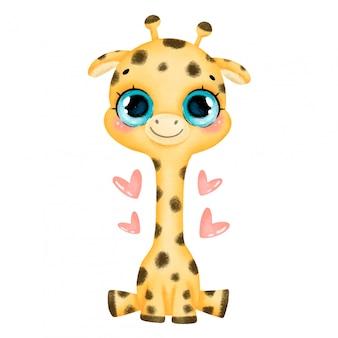 Ilustración de una caricatura bebé jirafa con grandes ojos y corazones aislados