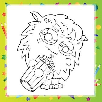 Ilustración caricatura en blanco y negro de funny monster para coloring book
