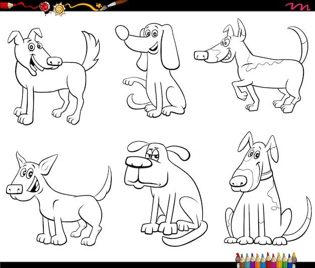 Ilustración caricatura en blanco y negro de perros y cachorros divertidos personajes de animales cómicos establecer página de libro para colorear