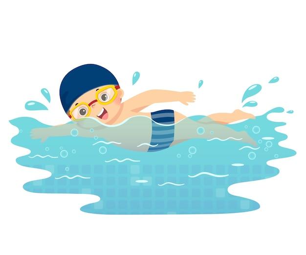 Ilustración caricatura de niño nadando en la piscina.