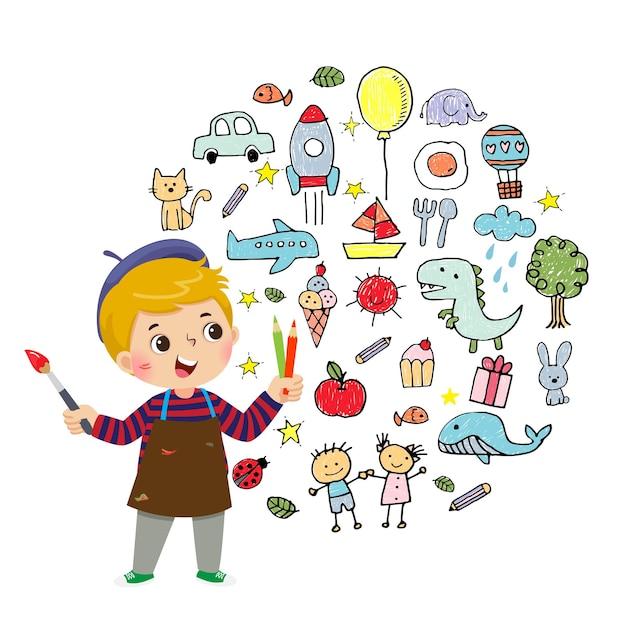 Ilustración caricatura de niño pequeño artista pintando con lápices de colores y pincel sobre fondo blanco.