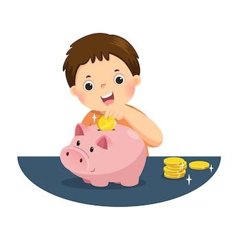 Ilustración caricatura de un niño pequeño poniendo monedas en la alcancía para ahorrar dinero y planificar las finanzas.