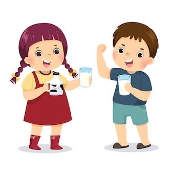 Ilustración caricatura de un niño sosteniendo un vaso de leche y mostrando su fuerza con una niña bebiendo leche.
