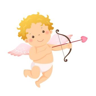 Ilustración caricatura de pequeño cupido con arco y flecha.
