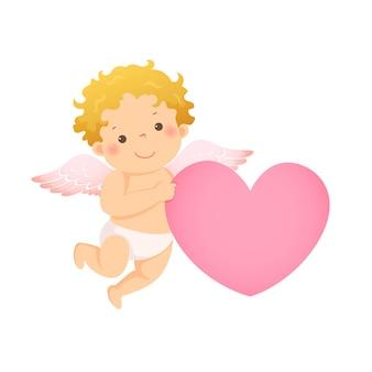 Ilustración caricatura de pequeño cupido con forma de corazón rosa.