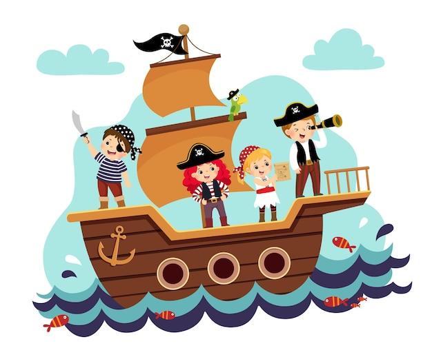 Ilustración caricatura de piratas de niños en el barco en el mar.