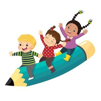 Ilustración caricatura de tres niños felices montando un lápiz volador sobre fondo blanco.