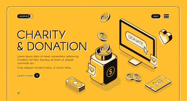 Ilustración de caridad y donación en diseño de línea isométrica sobre fondo de semitono amarillo.