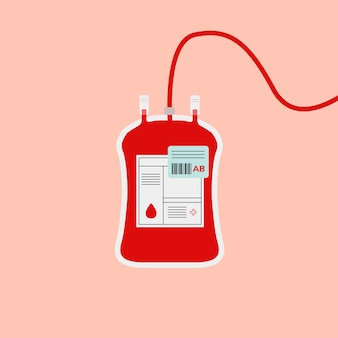 Ilustración de caridad de salud roja de vector de bolsa de sangre tipo ab
