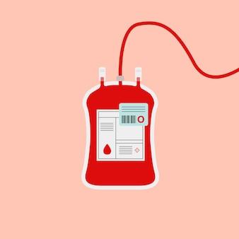 Ilustración de caridad de salud roja de vector de bolsa de sangre de tipo o