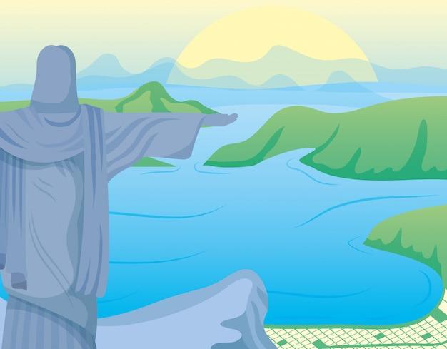 Ilustración de carnaval de brasil con corcovade christ en paisaje