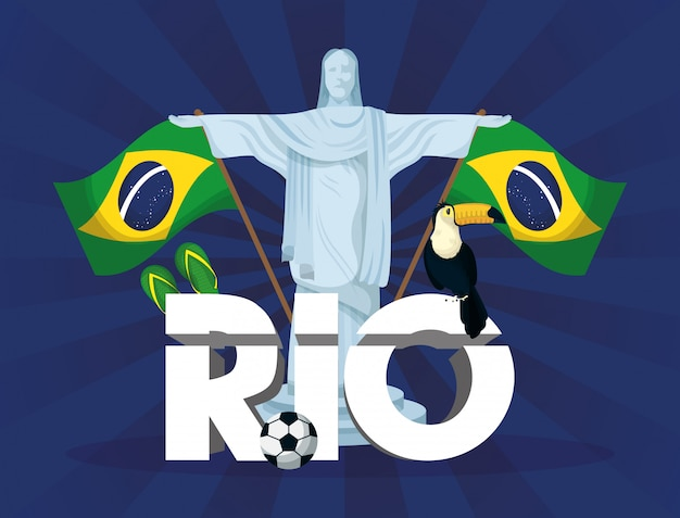 Ilustración de carnaval de brasil con corcovade christ