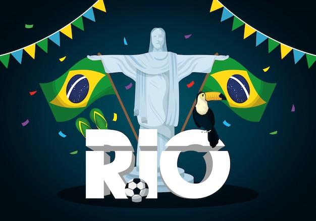 Ilustración de carnaval de brasil con corcovade cristo y banderas