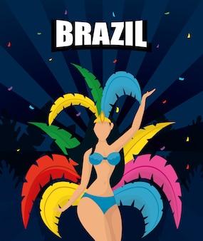 Ilustración de carnaval de brasil con hermosa garota
