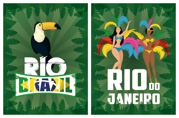 Ilustración de carnaval de brasil con hermosas garotas interraciales y tucán