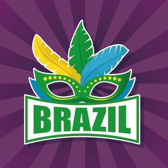 Ilustración de carnaval de brasil con máscara de plumas
