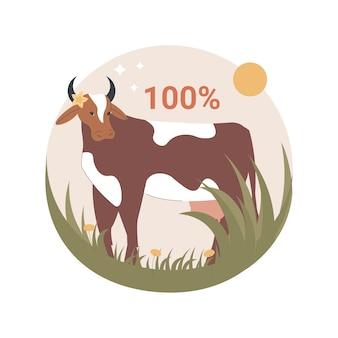 Ilustración de carne de res alimentada con pasto