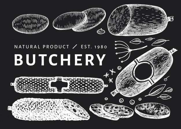 Ilustración de carne vintage en pizarra.
