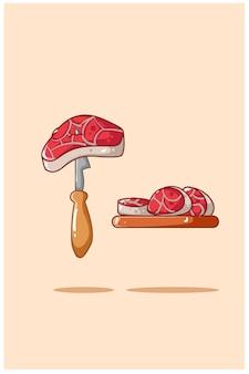 Ilustración de carnes y cuchillo