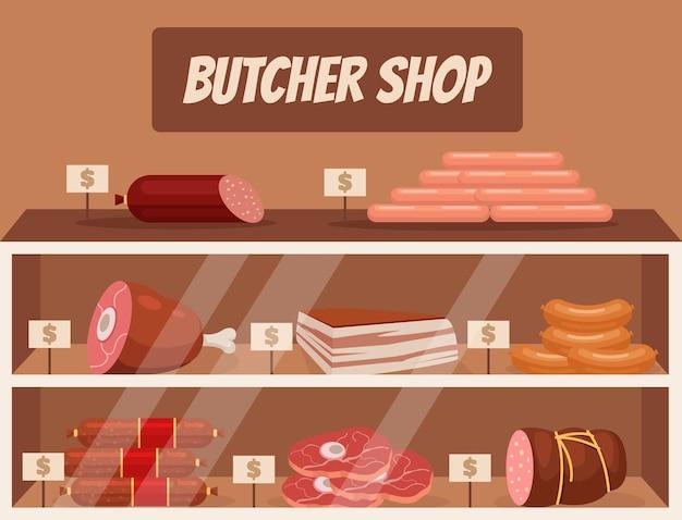 Ilustración de carnicería de mercado de carne