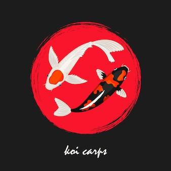 Ilustración de carpas japonesas koi